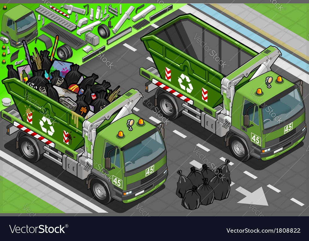 Isometric garbage truck with container in front vector | Price: 1 Credit (USD $1)
