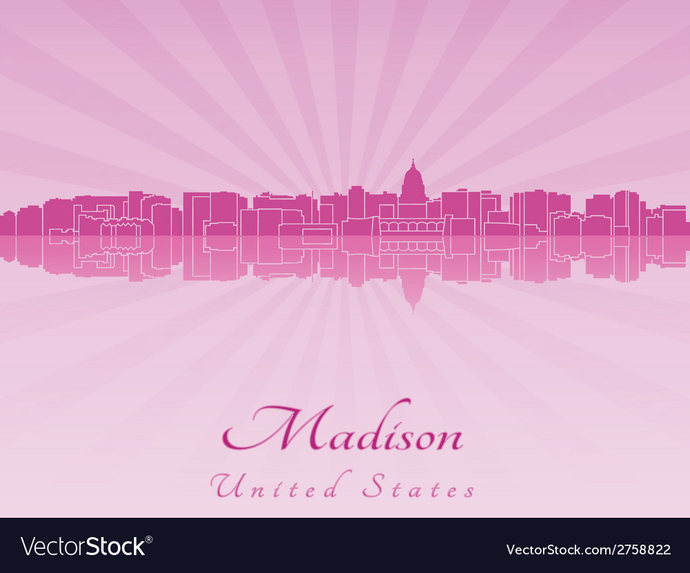 Madison skyline in radiant orchid vector | Price: 1 Credit (USD $1)