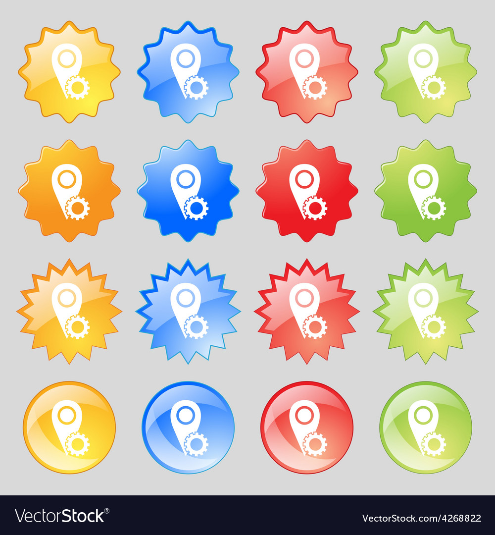 Map pointer setting icon sign big set of 16 vector | Price: 1 Credit (USD $1)