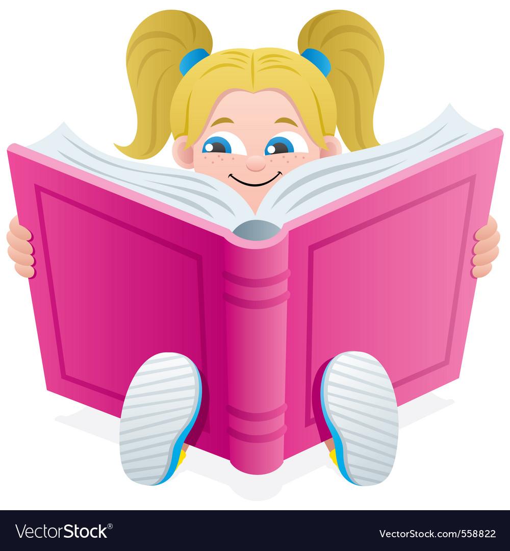Reading girl vector | Price: 1 Credit (USD $1)