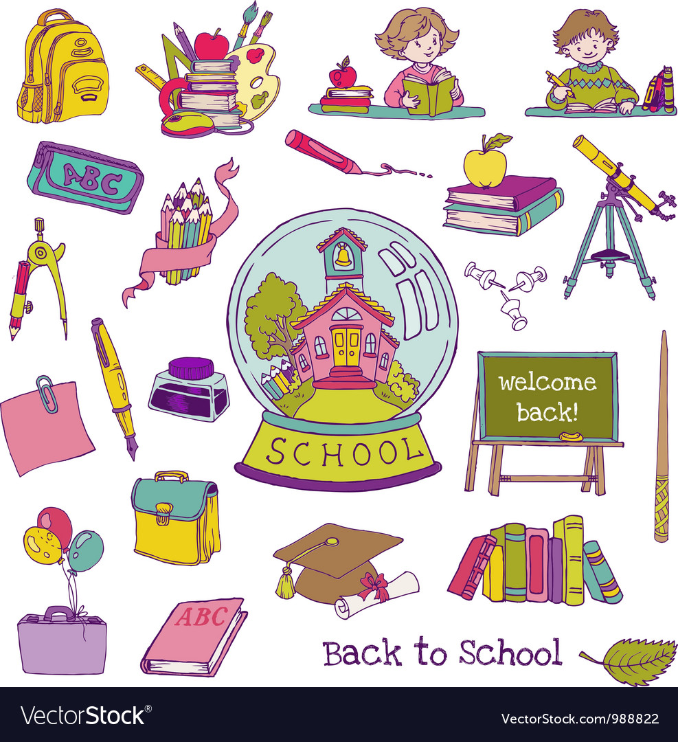 Scrapbook design elements - back to school vector | Price: 3 Credit (USD $3)