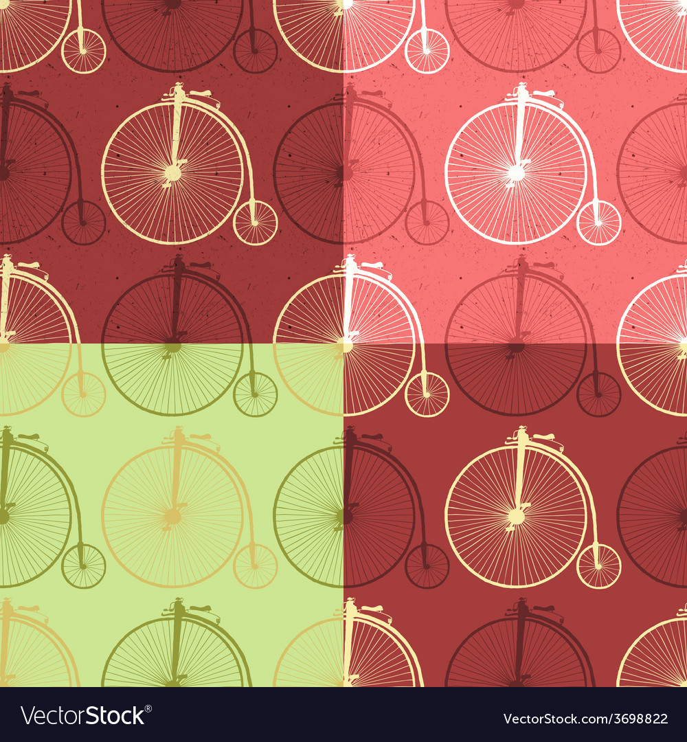 Set of abstract vintage bicycle seamless vector | Price: 1 Credit (USD $1)