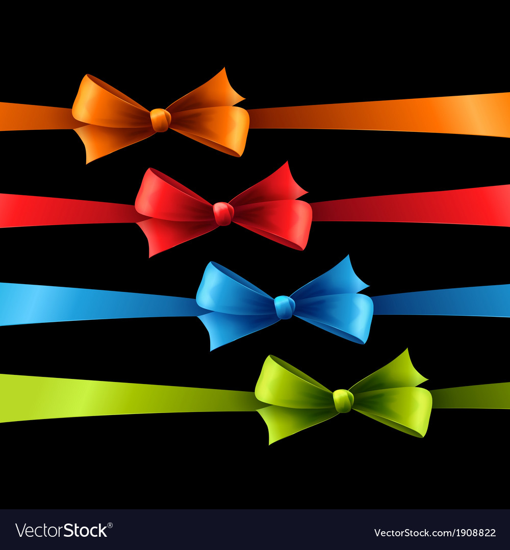 Set of color bow vector | Price: 1 Credit (USD $1)