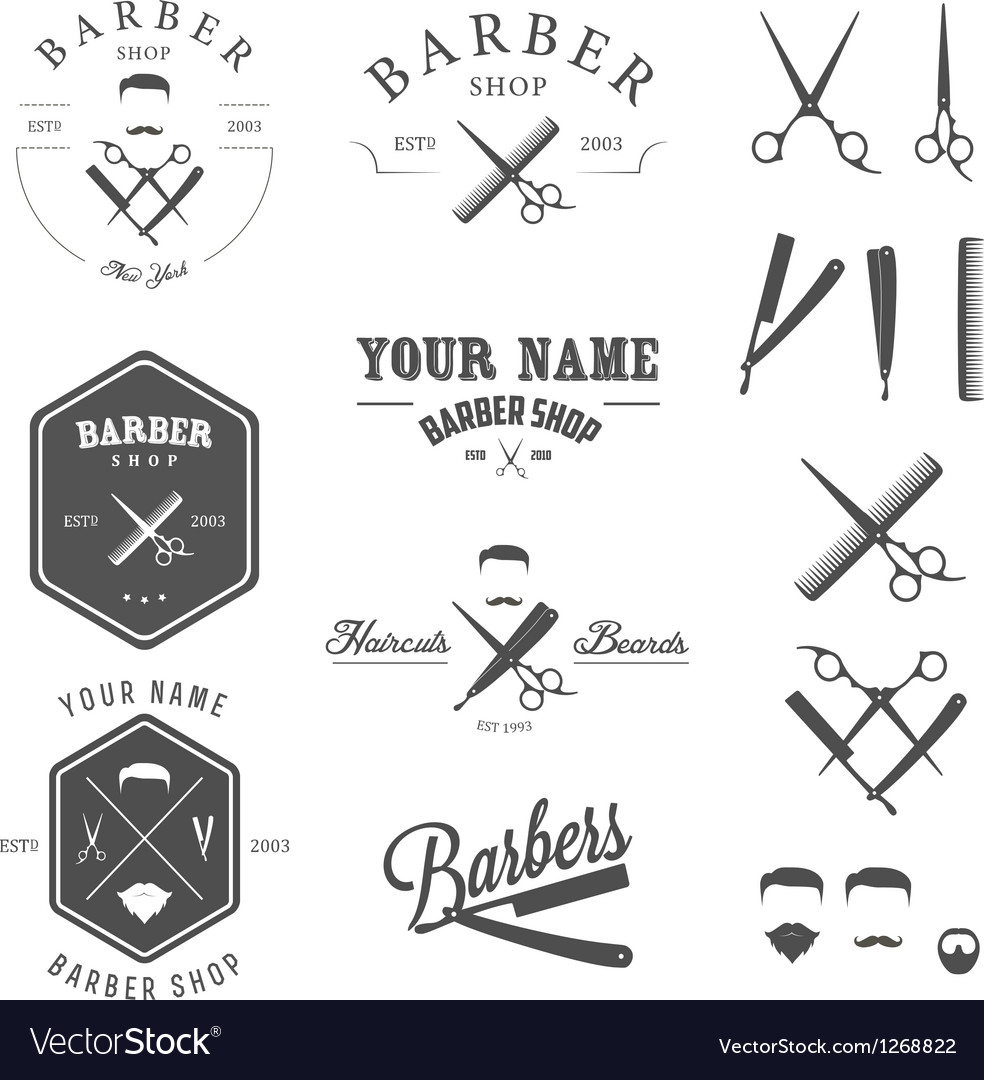 Set of vintage barber shop design elements vector | Price: 3 Credit (USD $3)