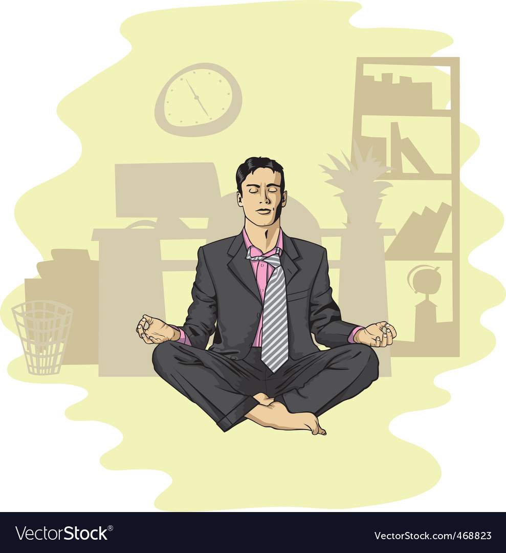 Businessman in lotus pose meditating vector | Price: 3 Credit (USD $3)
