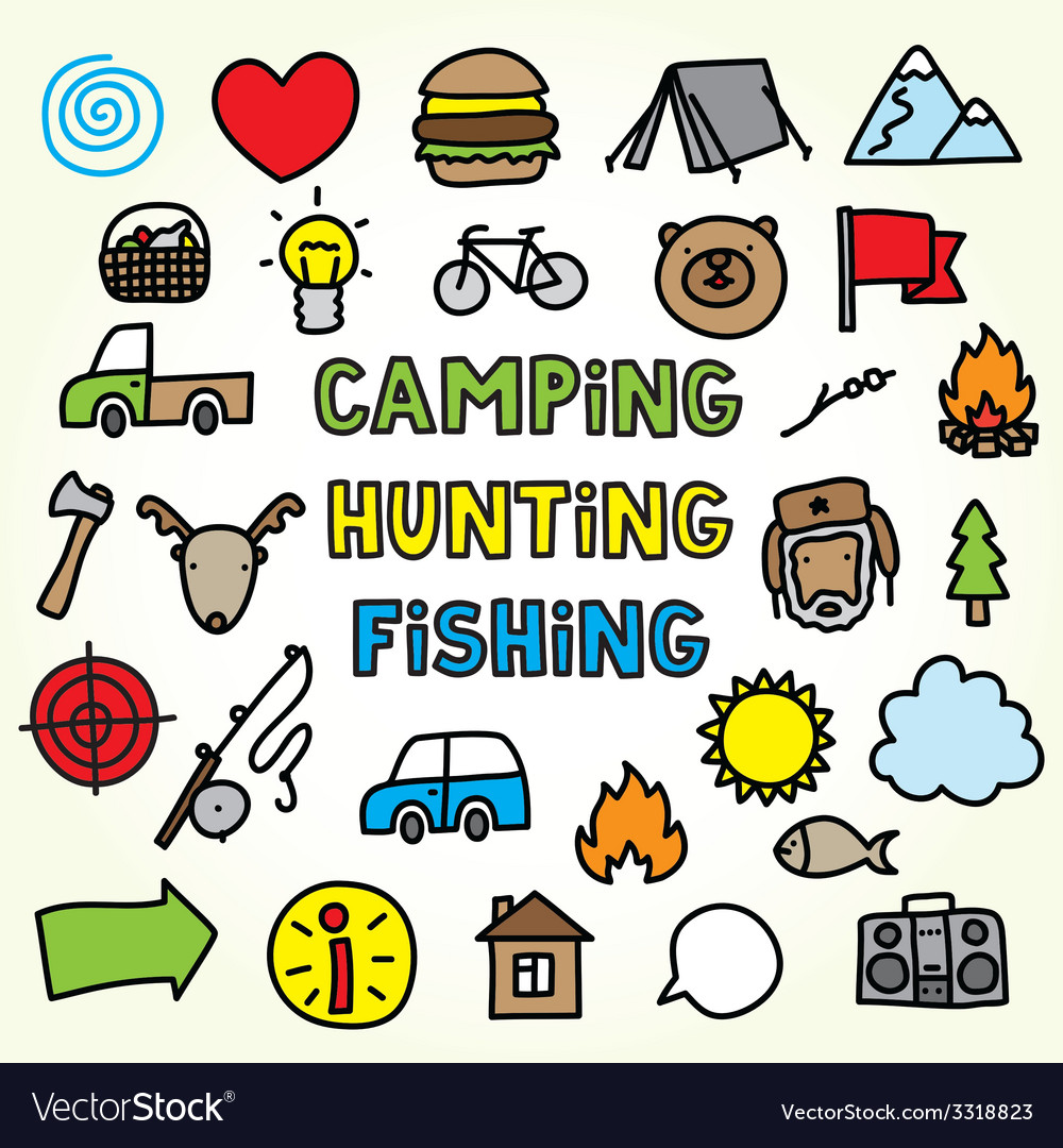Cartoon camping icons vector | Price: 1 Credit (USD $1)