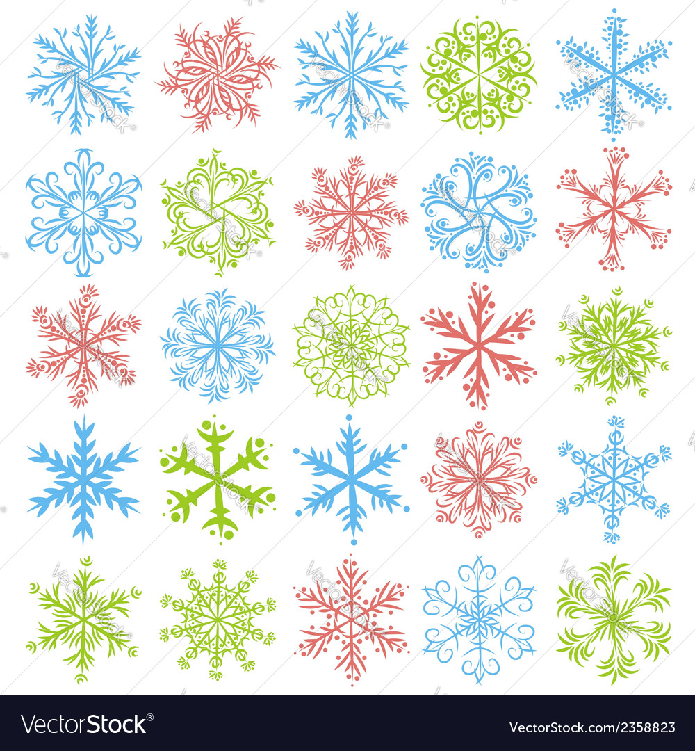 Color snowflakes over white backround vector | Price: 1 Credit (USD $1)