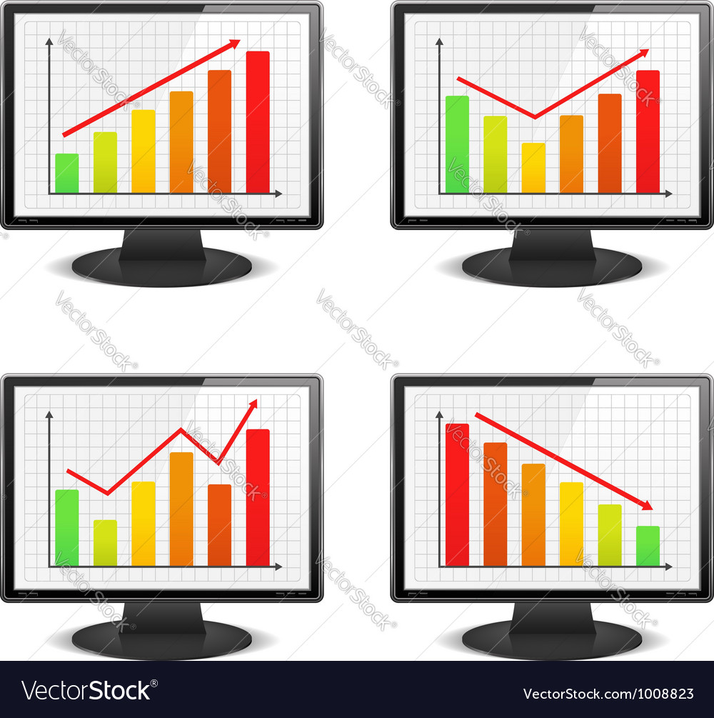 Computer monitors with graphs vector | Price: 3 Credit (USD $3)