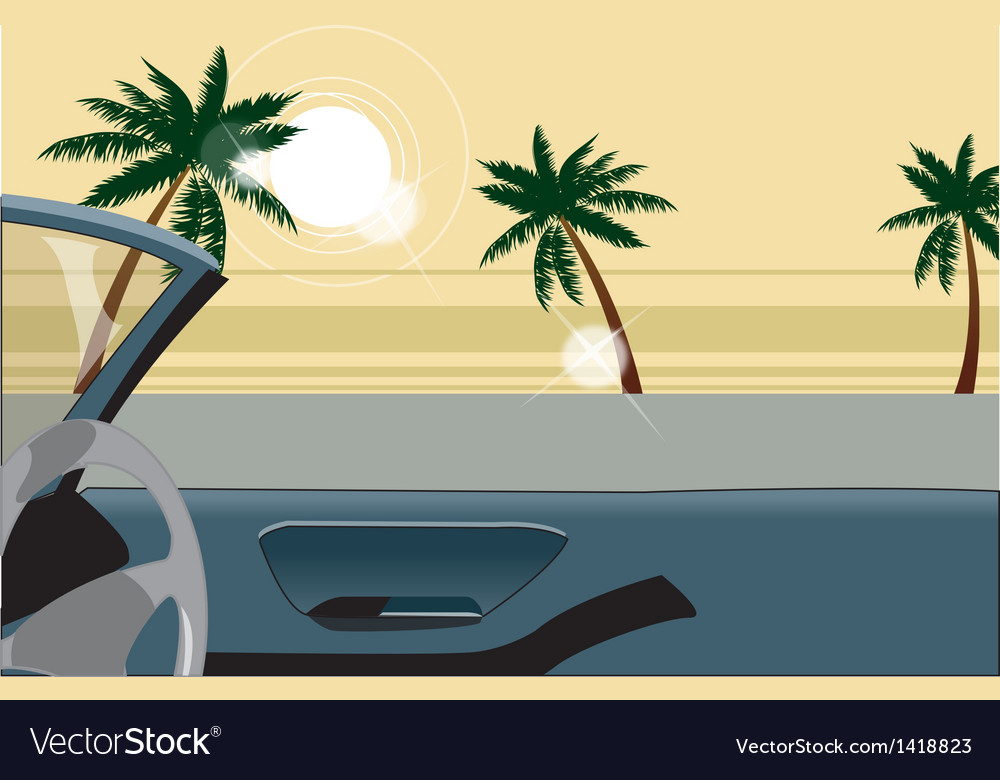 Convertible beach view vector | Price: 1 Credit (USD $1)