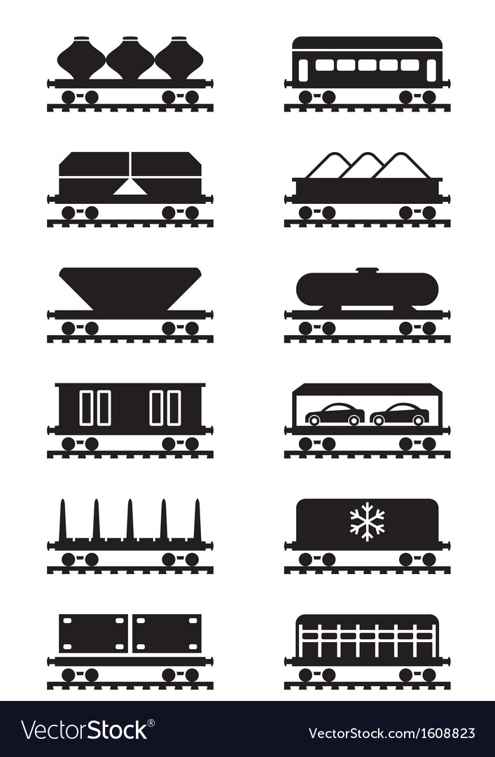 Different types of railway wagons vector | Price: 1 Credit (USD $1)