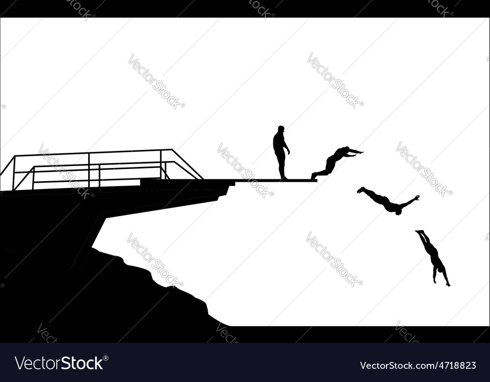 Diving silhouettes vector | Price: 1 Credit (USD $1)