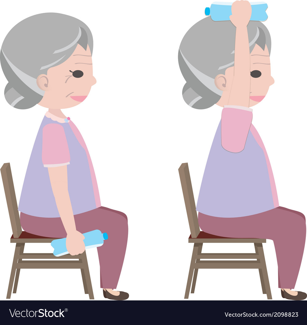 Exercise for old person vector | Price: 1 Credit (USD $1)