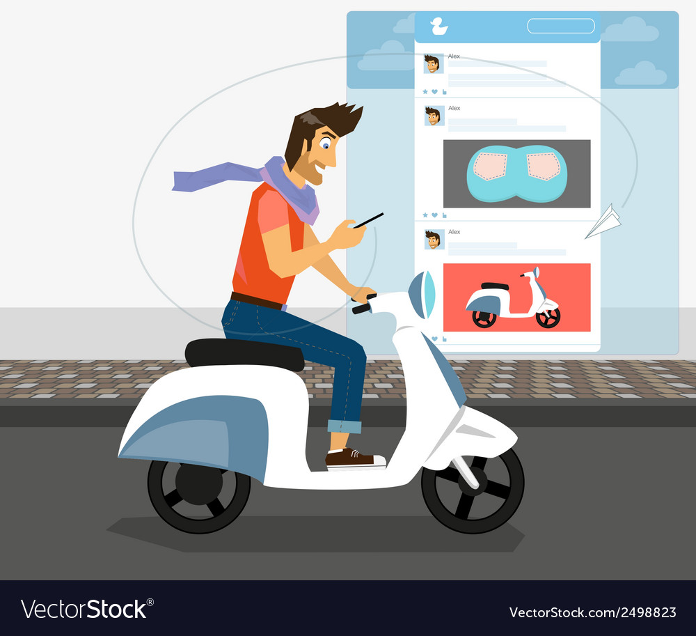 Funny handsome guy rides white bike vector | Price: 1 Credit (USD $1)