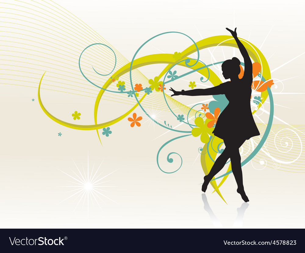 Girl dancing beautiful background vector | Price: 1 Credit (USD $1)