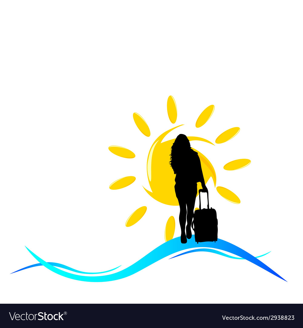 Girl with a travel bag with sun and sea vector | Price: 1 Credit (USD $1)