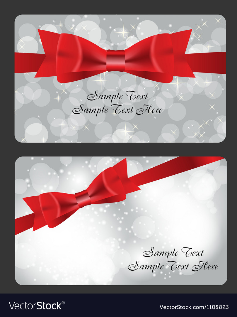 Holiday gift cards with red bow ribbon and place vector | Price: 1 Credit (USD $1)