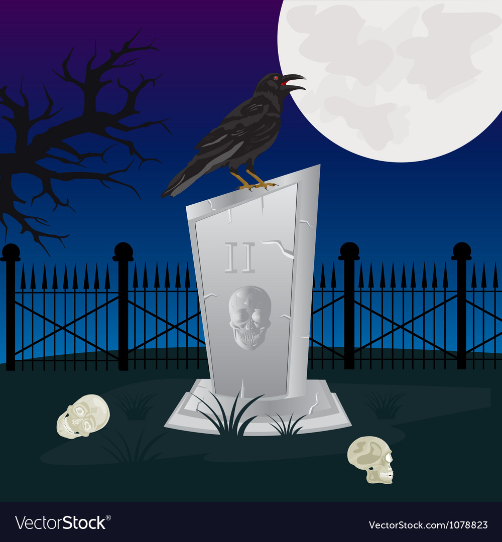 Night on graveyard vector | Price: 1 Credit (USD $1)