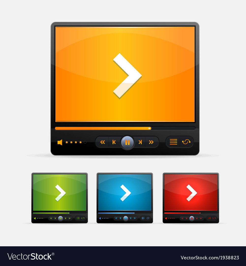 Video player skin colour set vector   Price: 1 Credit (USD $1)