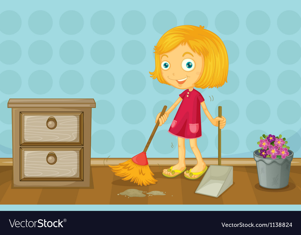 A girl cleaning a room vector | Price: 1 Credit (USD $1)