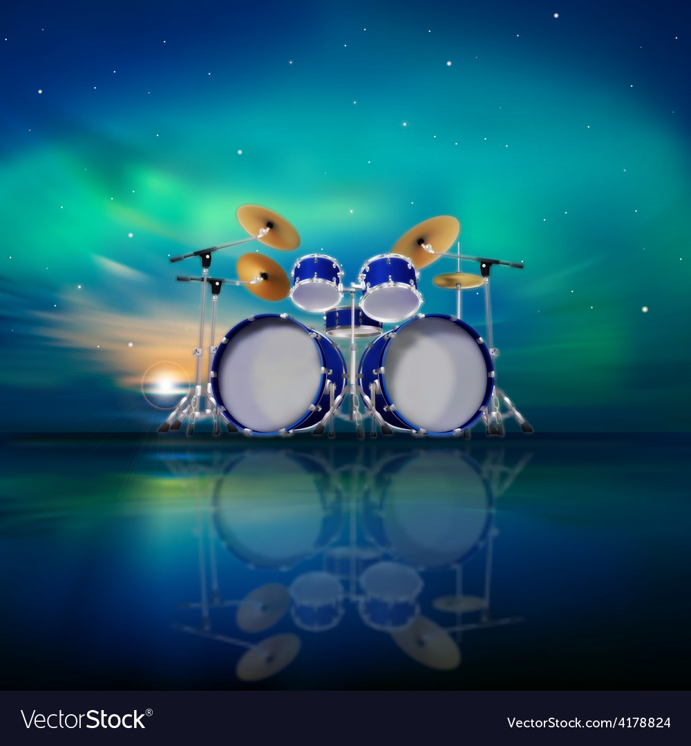 Abstract music background with sunrise drum kit vector | Price: 3 Credit (USD $3)