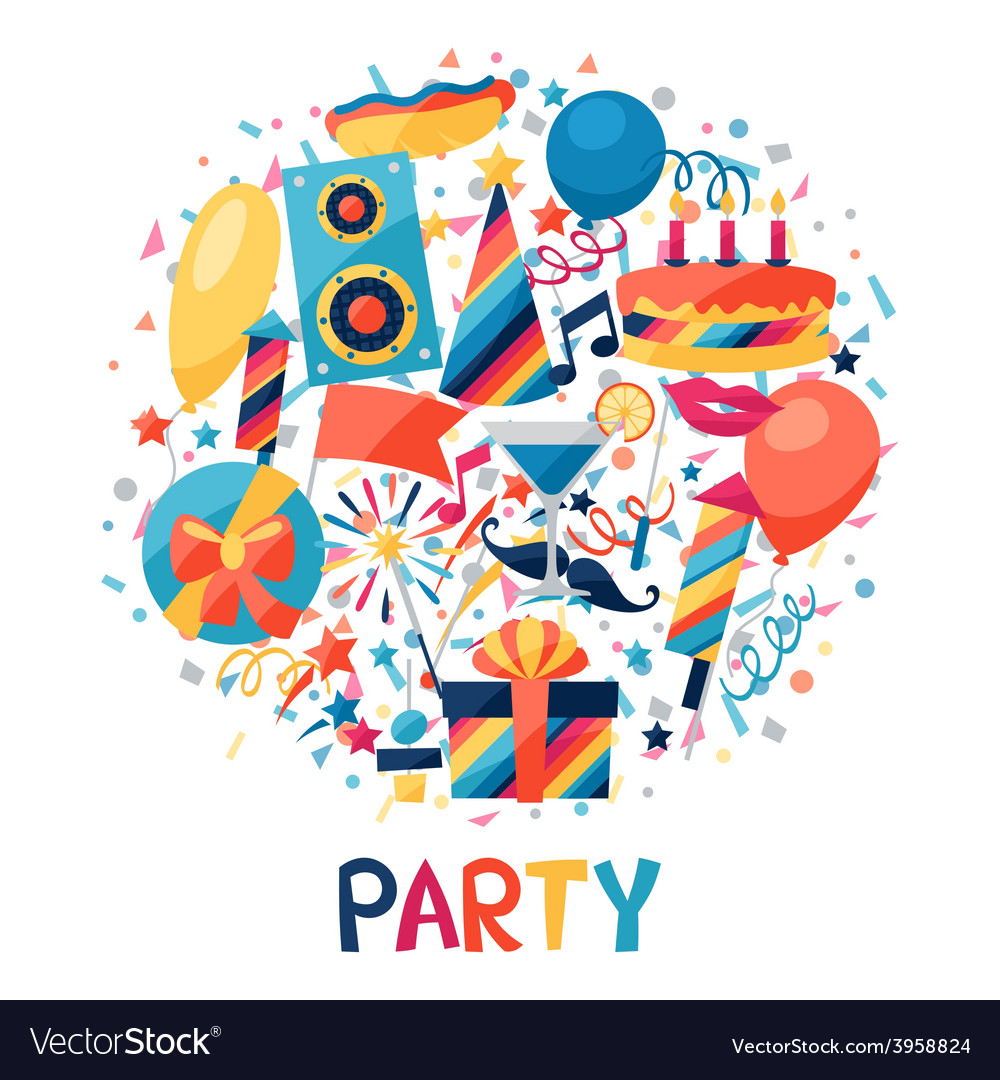 Celebration background with party icons and vector   Price: 1 Credit (USD $1)