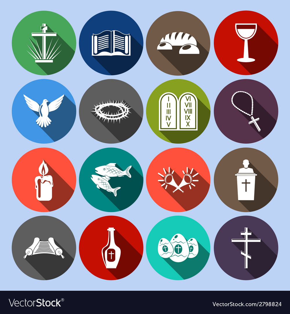 Christianity icons set flat vector | Price: 1 Credit (USD $1)