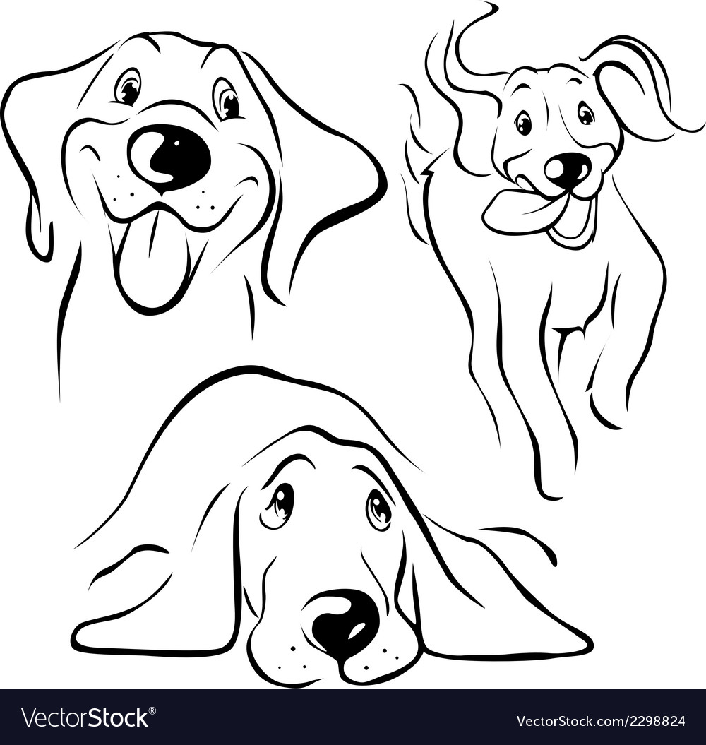 Dog - black line vector | Price: 1 Credit (USD $1)