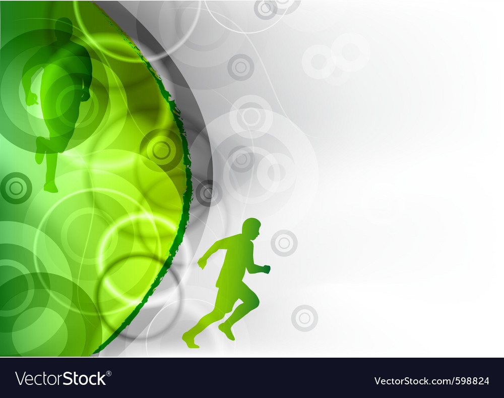 Green background with the runner vector | Price: 1 Credit (USD $1)