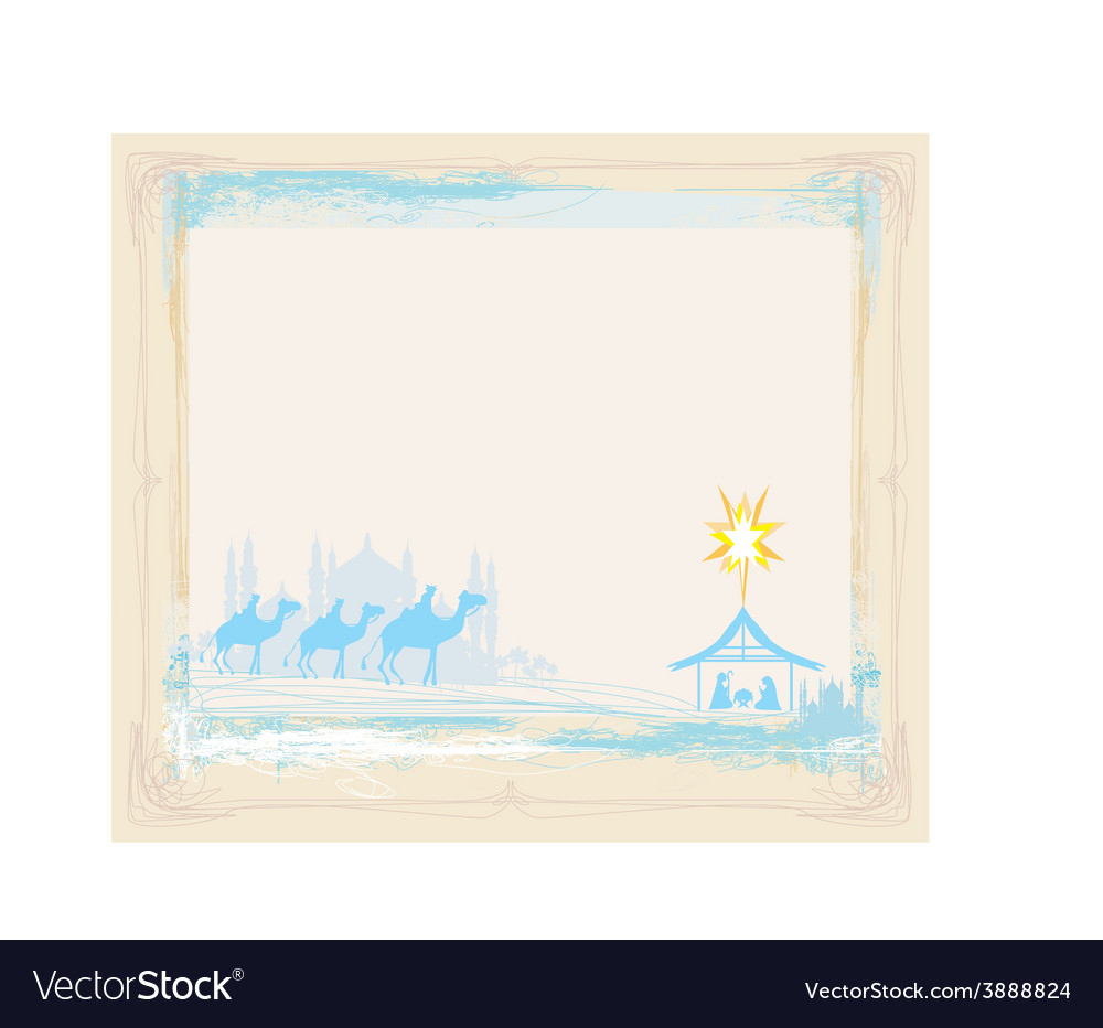 Grunge frame with traditional christian christmas vector | Price: 1 Credit (USD $1)