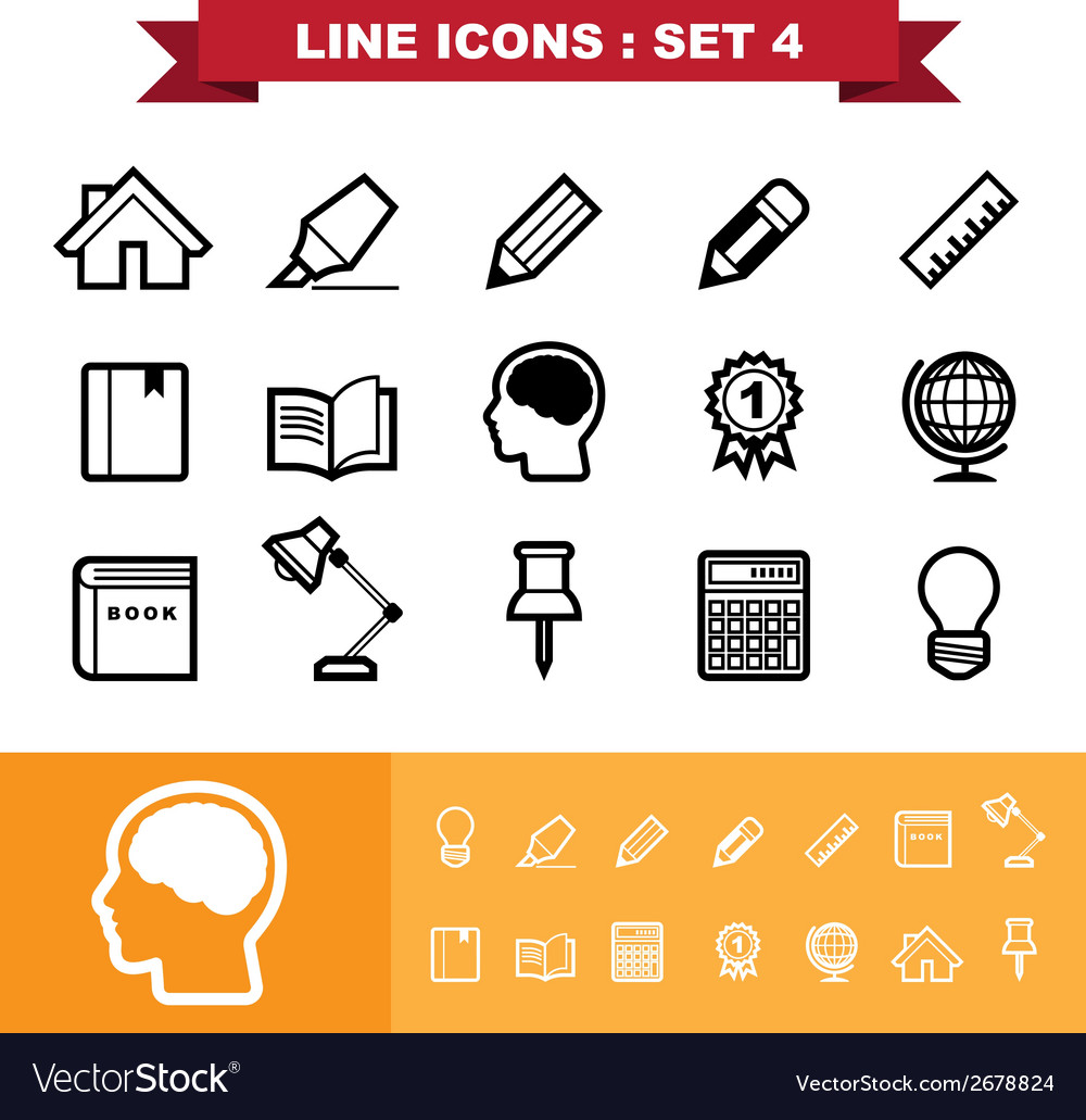 Line icons set 4 vector | Price: 1 Credit (USD $1)