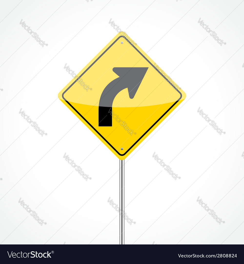 Right curve sign vector | Price: 1 Credit (USD $1)
