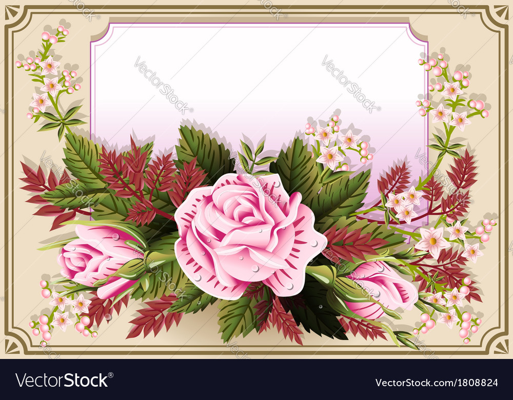Roses ornament on vintage frame vector | Price: 1 Credit (USD $1)