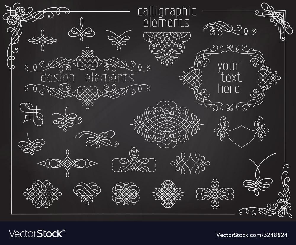Set of chalk calligraphic design elements vector