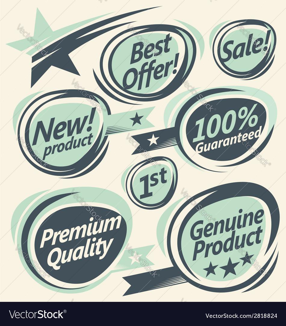 Set of retro designs elements vector | Price: 1 Credit (USD $1)