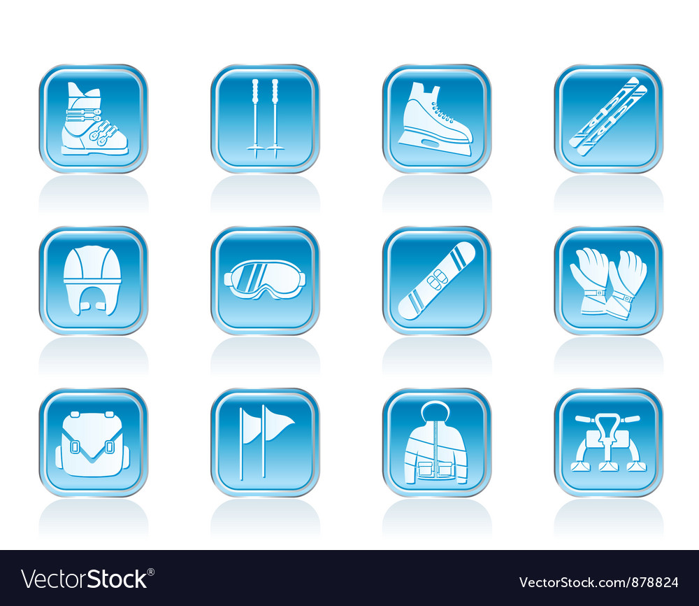 Ski and snowboard equipment icons vector | Price: 1 Credit (USD $1)