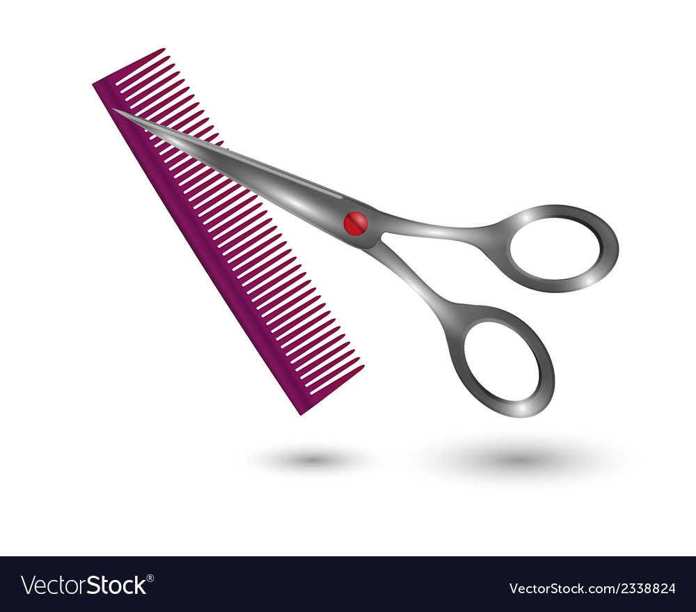 Small comb and scissors vector | Price: 1 Credit (USD $1)