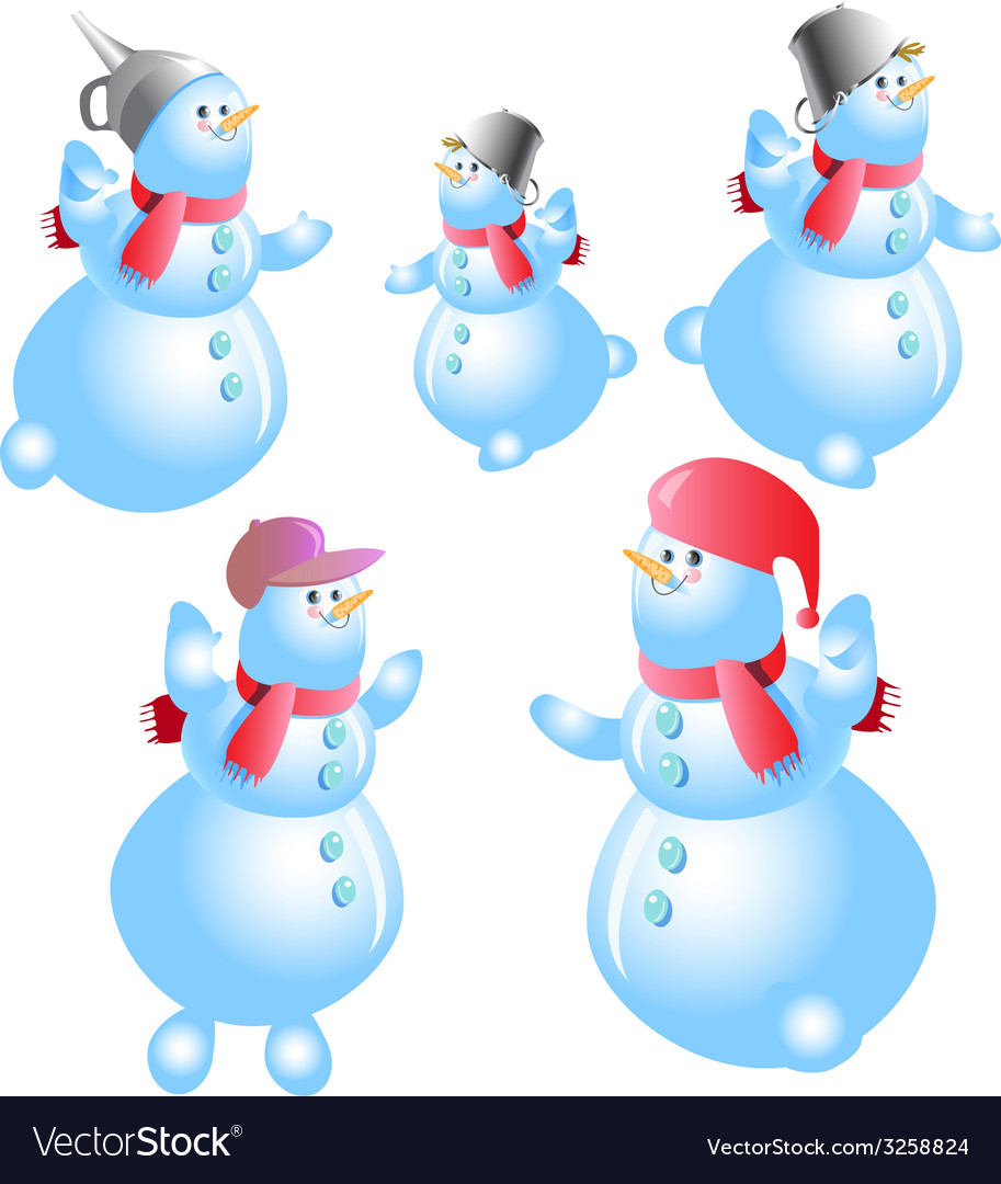 Snowman set vector | Price: 1 Credit (USD $1)