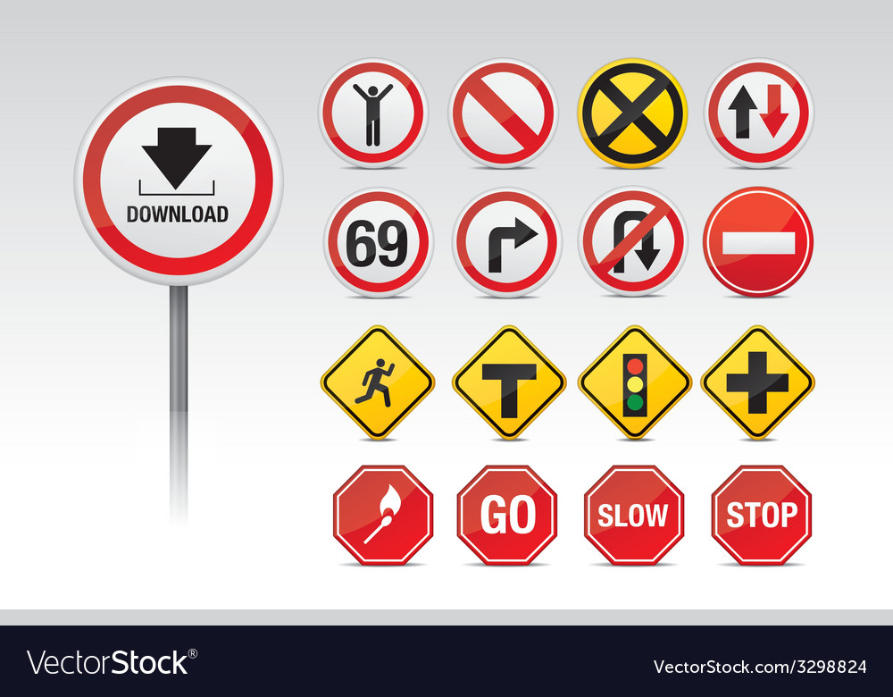 Traffic and other icon signs vector | Price: 1 Credit (USD $1)