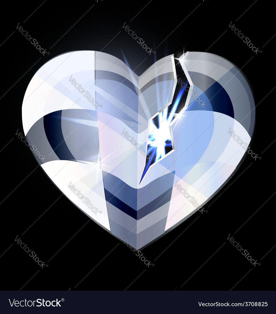 Broken ice heart-crystal vector | Price: 1 Credit (USD $1)