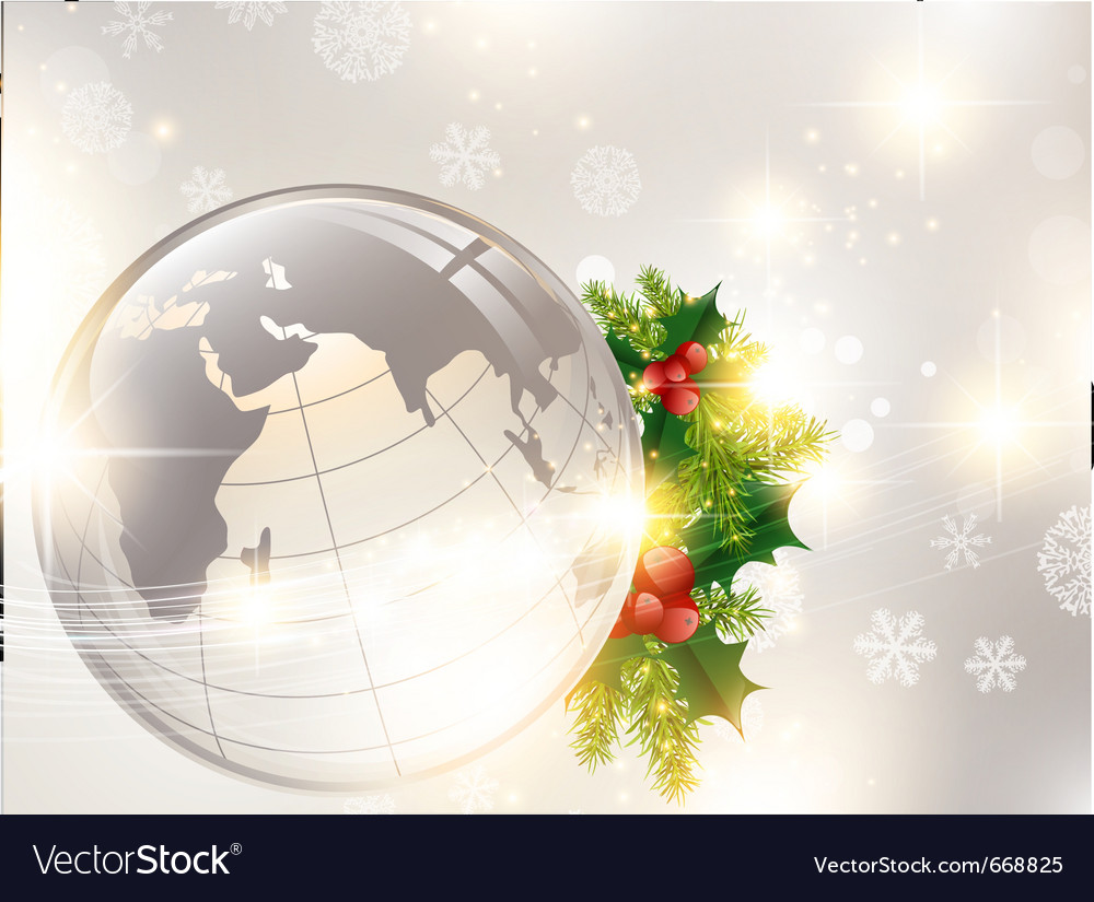 Christmas holiday background with world globe vector | Price: 1 Credit (USD $1)