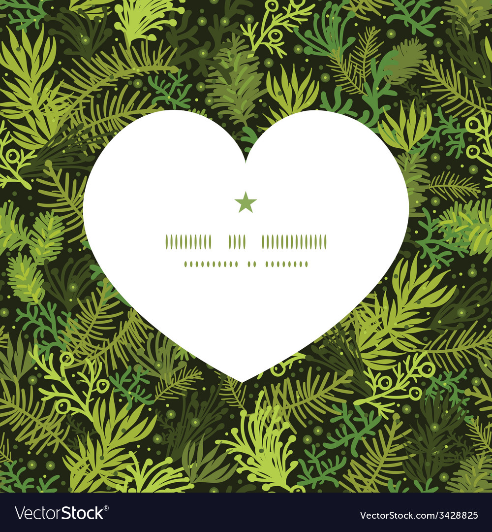Evergreen christmas tree heart silhouette pattern vector | Price: 1 Credit (USD $1)