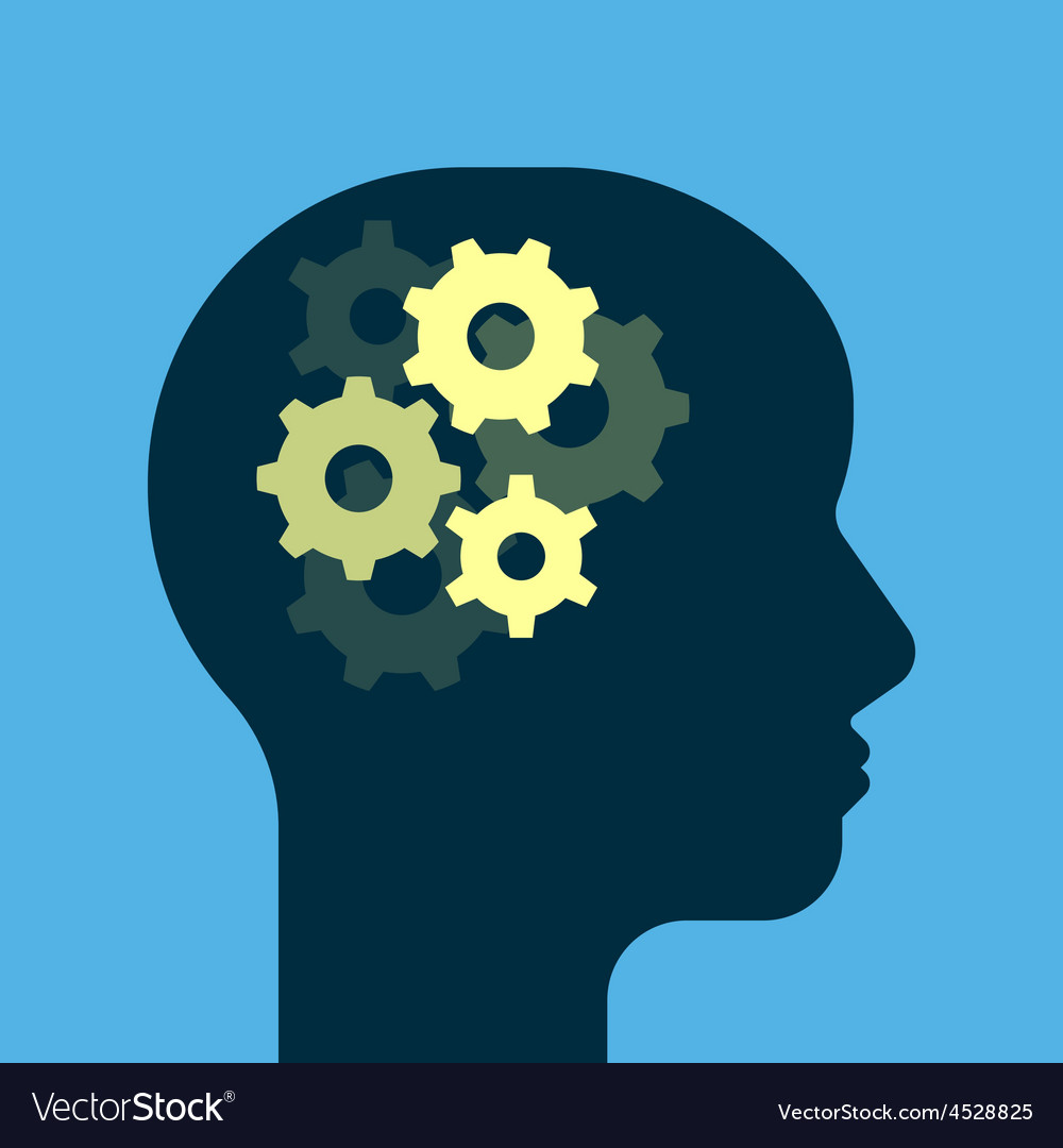 Gears working brain vector | Price: 1 Credit (USD $1)