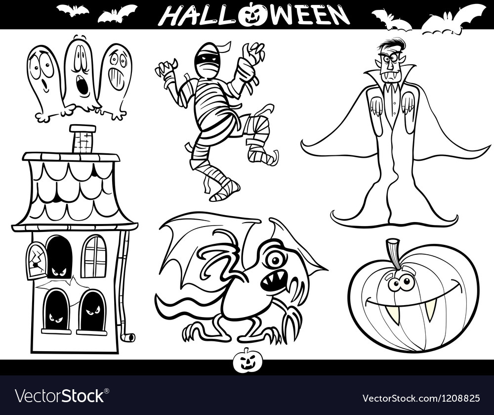 Halloween cartoon themes for coloring book vector | Price: 3 Credit (USD $3)