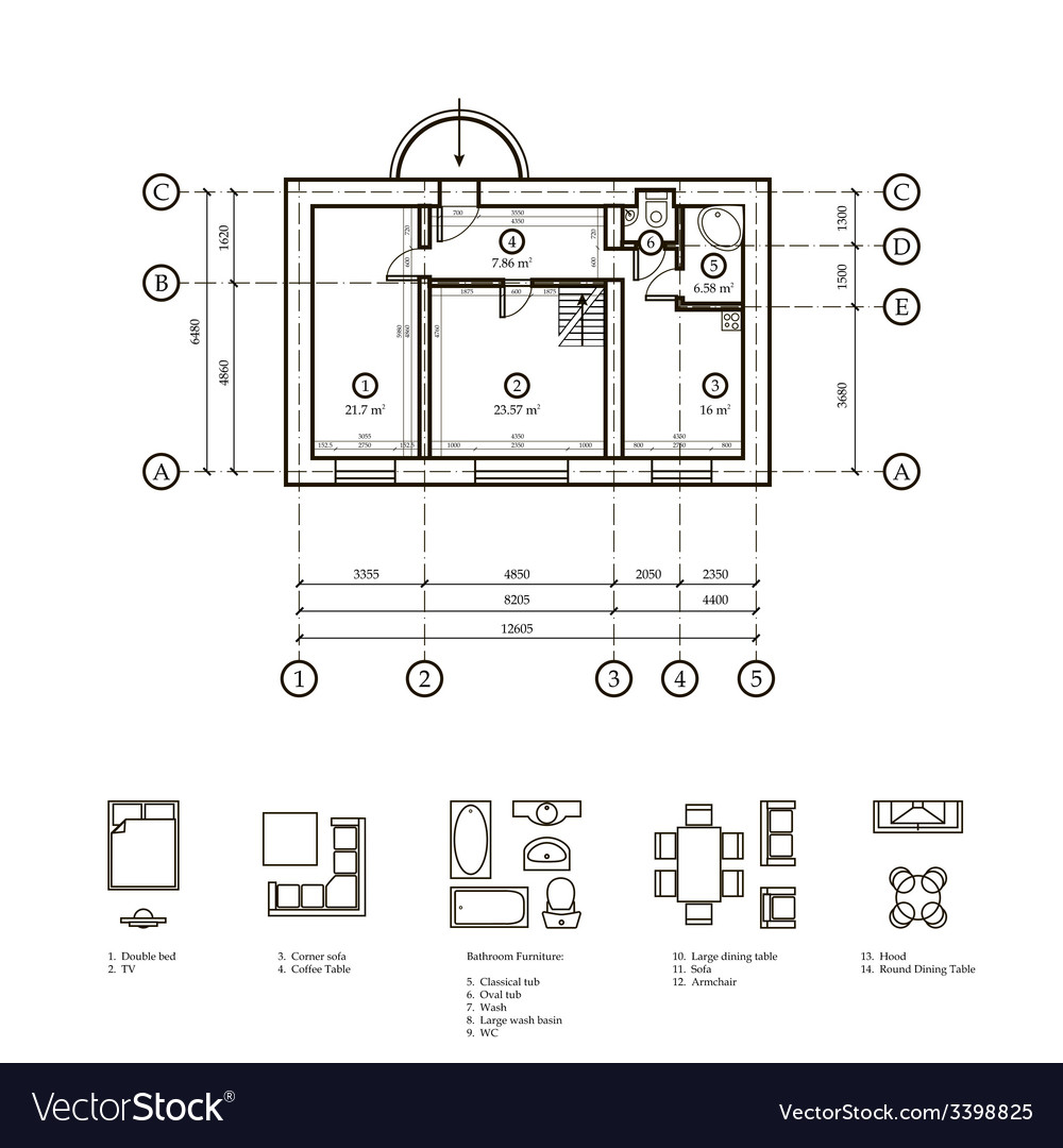 Plan of the apartment vector | Price: 1 Credit (USD $1)