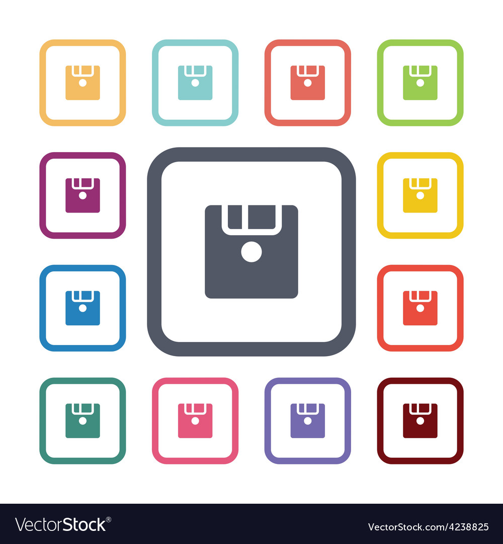 Save flat icons set vector | Price: 1 Credit (USD $1)