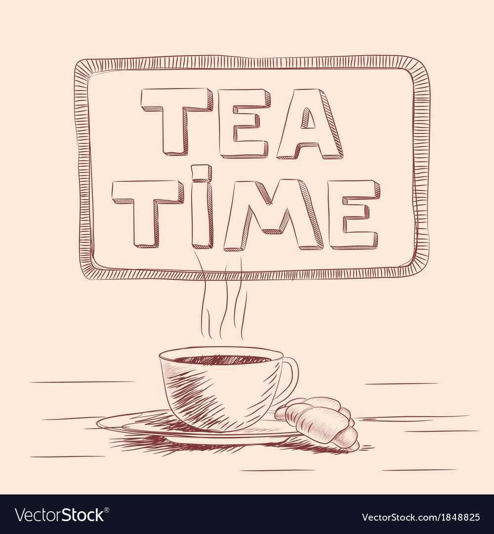 Sketch of cup of tea vector | Price: 1 Credit (USD $1)