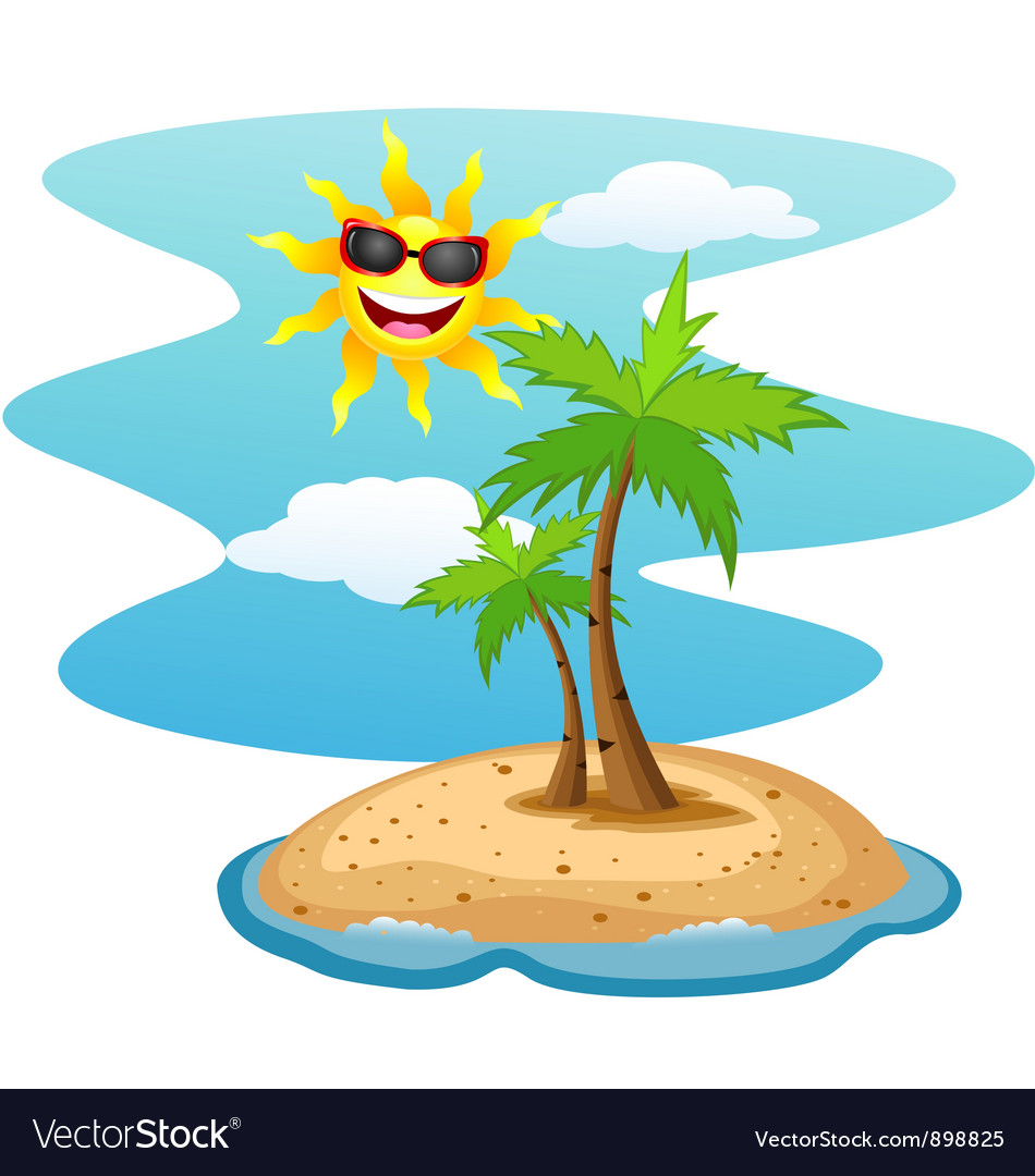 Tropical island with smiling sun vector   Price: 1 Credit (USD $1)
