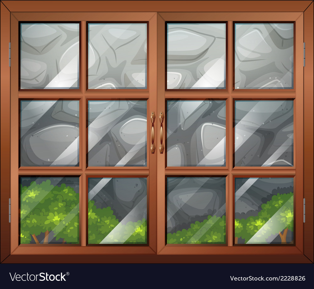 A closed window with a view of the stonewall vector | Price: 1 Credit (USD $1)