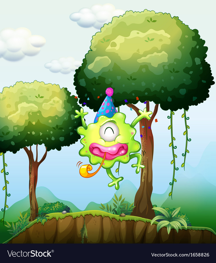 A monster playing near the tree in the forest vector | Price: 3 Credit (USD $3)