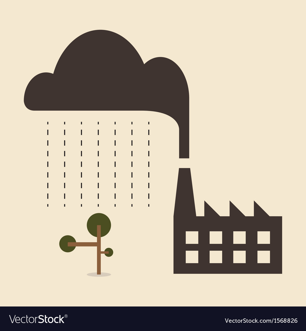 Acid rain cause from industry pollution falling to vector | Price: 1 Credit (USD $1)